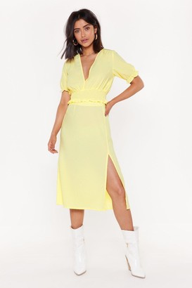 Nasty Gal Womens Don'T Know How She Does Slit High-Waisted Midi Skirt - Yellow - 6, Yellow