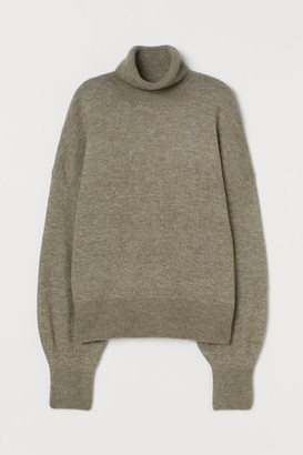 H&M Fine-knit Turtleneck Sweater - Green