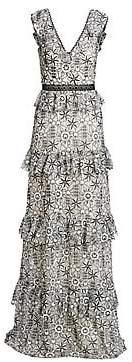 ML Monique Lhuillier Women's Tiered Floral-Jacquard A-Line Gown - Size 0