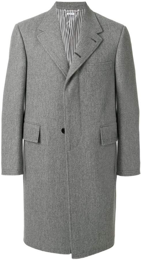 Thom Browne Melton Wool Wide Lapel Chesterfield Overcoat
