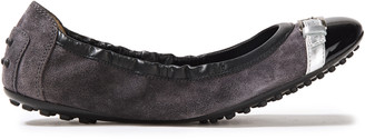 Tod's Metallic Leather-trimmed Suede Ballet Flats
