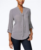 Charter Club Dot-Print Tie-Neck Blouse, Only at Macy's