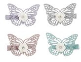 Monsoon 4X Daisy Glitter Butterfly Hair Clips