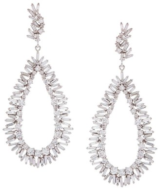 Suzanne Kalan White Gold And White Diamond Fireworks Pear Drop Earrings