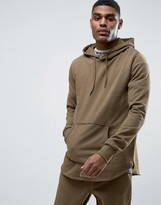Criminal Damage Olive Tracksuit Hoodie With Curved Hem And Concealed Side Zips