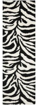 "Viv + Rae Davey Animal Print Ivory/Black Area Rug Rug Size: Runner 2'3"" x 7'"