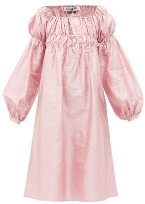 ÀCHEVAL PAMPA Antonia Off-the-shoulder Shantung-silk Dress - Pink