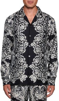 Dolce & Gabbana Men's Lace Print Silk Pajama Top