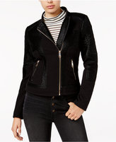 GUESS Pamela Pebbled Faux-Leather Moto Jacket