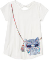 Jessica Simpson Owl Purse Pocket Keyhole T-Shirt, Big Girls (7-16)