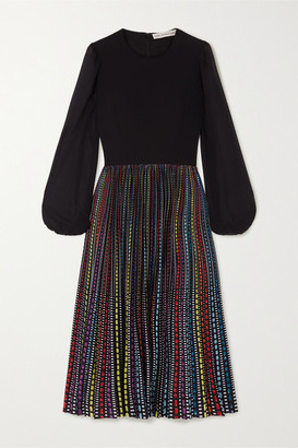 Mary Katrantzou Serena Crepe, Chiffon And Printed Satin Midi Dress - Black