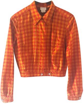 Dries Van Noten Orange Silk Leather Jacket for Women