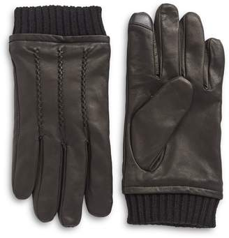 Tommy Hilfiger Ribbed Leather Gloves