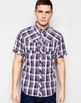 G Star G-Star Shirt Arc 3D Short Sleeve Western Blue Check