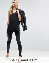 Asos Leather Look Paneled Legging