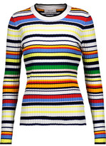 Milly Striped Ribbed Stretch-Knit Sweater