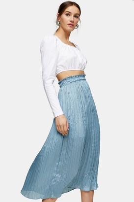 Topshop Womens Blue Crushed Satin Pleated Midi Skirt - Ice Blue