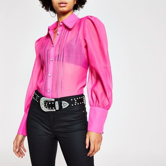 River Island Womens Pink embroidered long sleeve sheer shirt