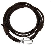 Ying Men Women Bracelet Black Multilayer Genuine Leather Handmade Cuff