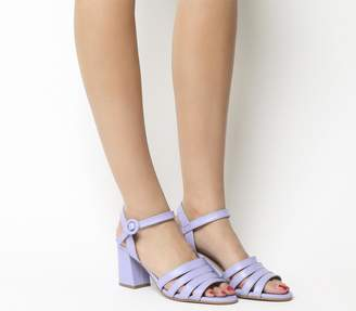 Office Myla Strappy Mid Block Heels Lilac Leather