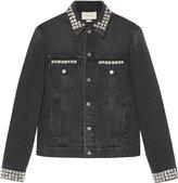 Gucci Denim jacket with embroideries - men - Cotton/metal - 48