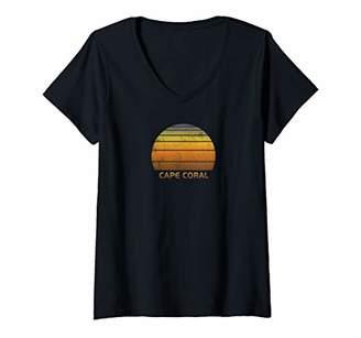 Womens Retro Cape Coral Florida V-Neck T-Shirt