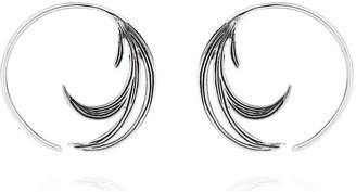 Lee Renee Duck Feather Hoop Earrings Silver