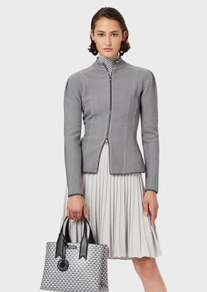 Emporio Armani Zipped, Jacquard Pique Jacket