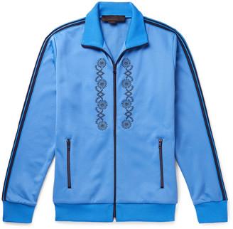 Stella McCartney Webbing-Trimmed Embroidered Tech-Jersey Track Jacket - Men - Blue