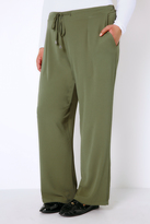 Yours Clothing Khaki Crepe Drawstring Trousers