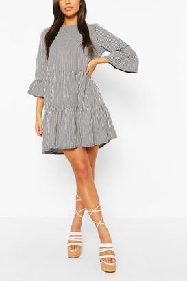 boohoo Gingham Frill Sleeve Tiered Smock Dress