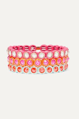 Roxanne Assoulin Mini Me Set Of Three Neon Enamel And Swarovski Crystal Bracelets - Pink