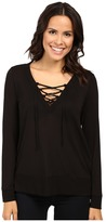 Lanston Lace-Up Pullover Women's Clothing