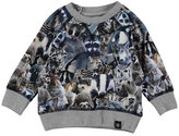 Molo Elmo Animal Collage Sweat Tee, Gray/Multicolor, Size 12-24 Months