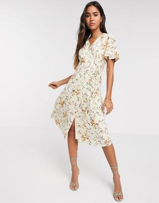 Vero Moda wrap midi dress in cream floral