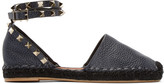 Valentino Garavani Valentino Navy Leather Rockstud Espadrilles