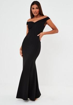 Missguided Black Scuba Crepe Bardot Fishtail Maxi Dress