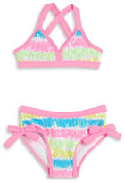 Flapdoodles Girls 2-6x Sequined Bikini Swimsuit Set