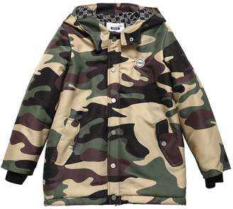 MSGM CAMOUFLAGE PRINT PUFFER JACKET
