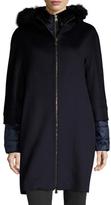 Cinzia Rocca Wool Fur Trim Hood Coat