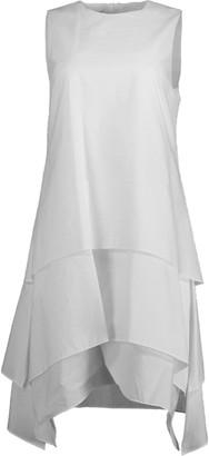 Brunello Cucinelli Natural Tiered Crewneck Mini Dress