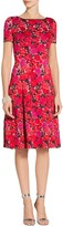St. John Indian Rose Blister Jacquard Cocktail Dress