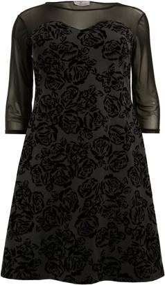 Evans **Aarya Black Printed Flock Swing Dress
