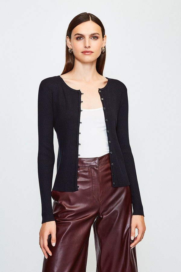 Karen Millen Button Through Crew Neck Cardigan