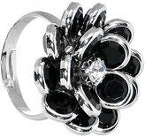 Body Candy Black Enamel Blooming Flower Adjustable Ring