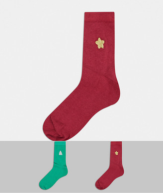 ASOS DESIGN Christmas 2 pack embroidered ankle socks