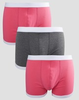 Asos Trunks In Pink With Contrast Binding 3 Pack