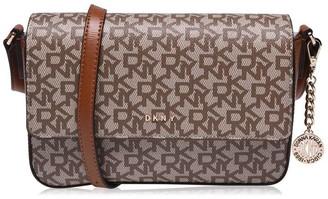 DKNY Coated Logo Medium Flap Over Cross Body Bag