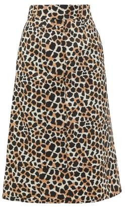 Sea Apollo Leopard-print Cotton A-line Skirt - Leopard