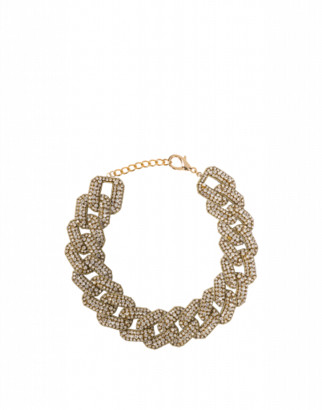 Moschino Choker Necklace Crystal Embroidery